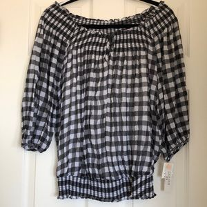 Black/white checkerboard light thin fabric blouse